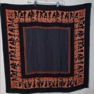Vtg 60s Grecian themed Japanese silk scarf